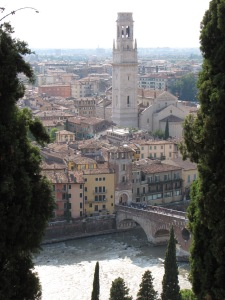Verona from the top of a hill